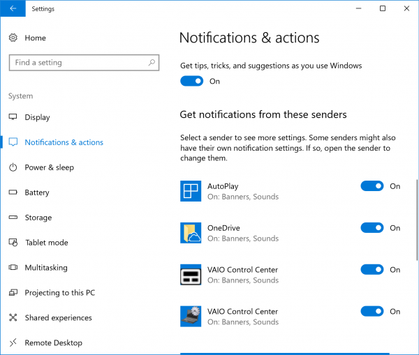 Notifications & actions
